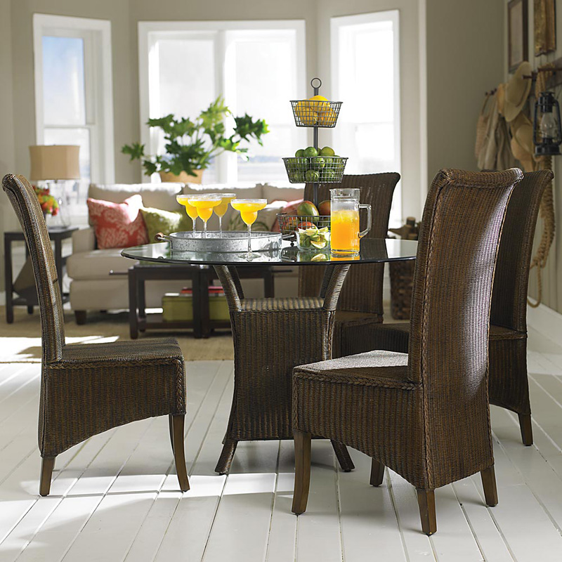 Bassett 4469 K47RD Custom Dining 47 Inch Round Glass Top Table Discount Furni