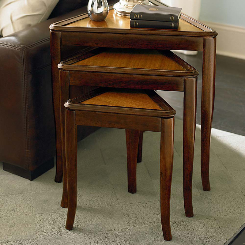 Bassett Nesting Triangle Table Discoveries Sale Accentfurniture Hickory Park Furniture Galleries
