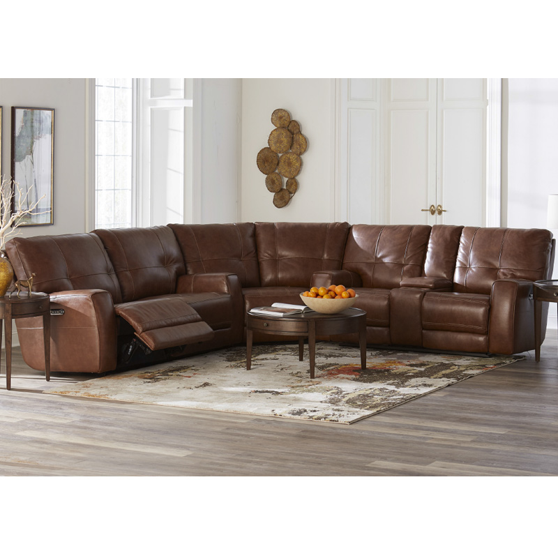 Bassett 3715 Club Level Conway Leather Motion Sectional