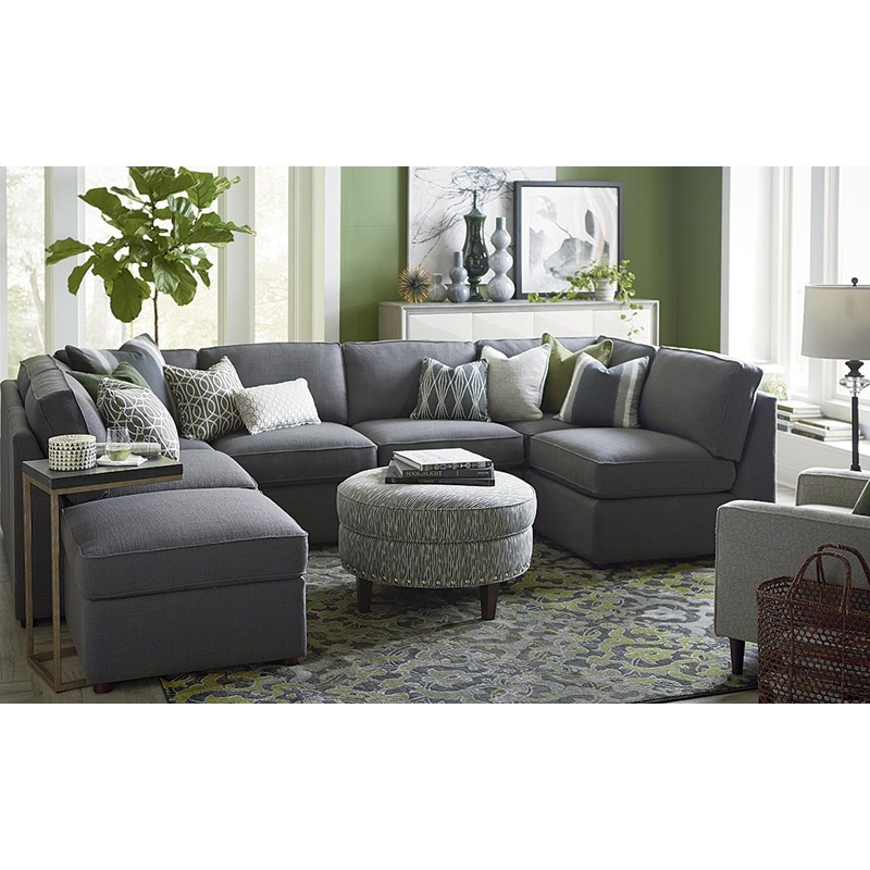 Leather Furniture Outlet North Carolina: Bassett 3975-USECT7 Beckie U Shaped Sectional Discount