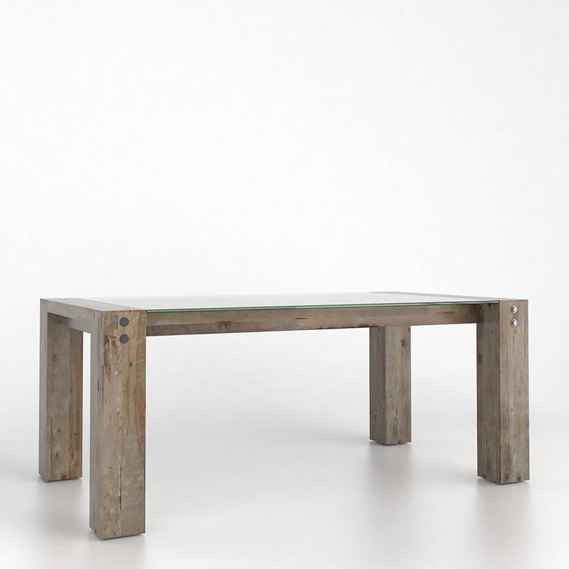 Canadel gre4072ln loft rectangular glass dining table with for Rectangular pedestal dining table