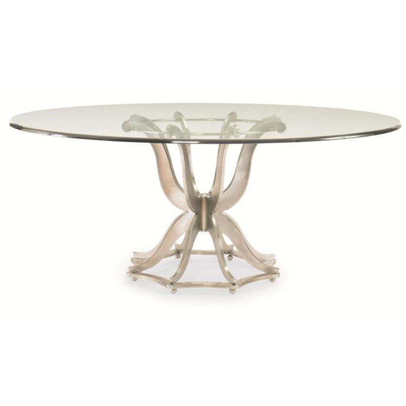 Century 55A 307 Omni Metal Base Dining Table With Glass Top Discount Furnitur