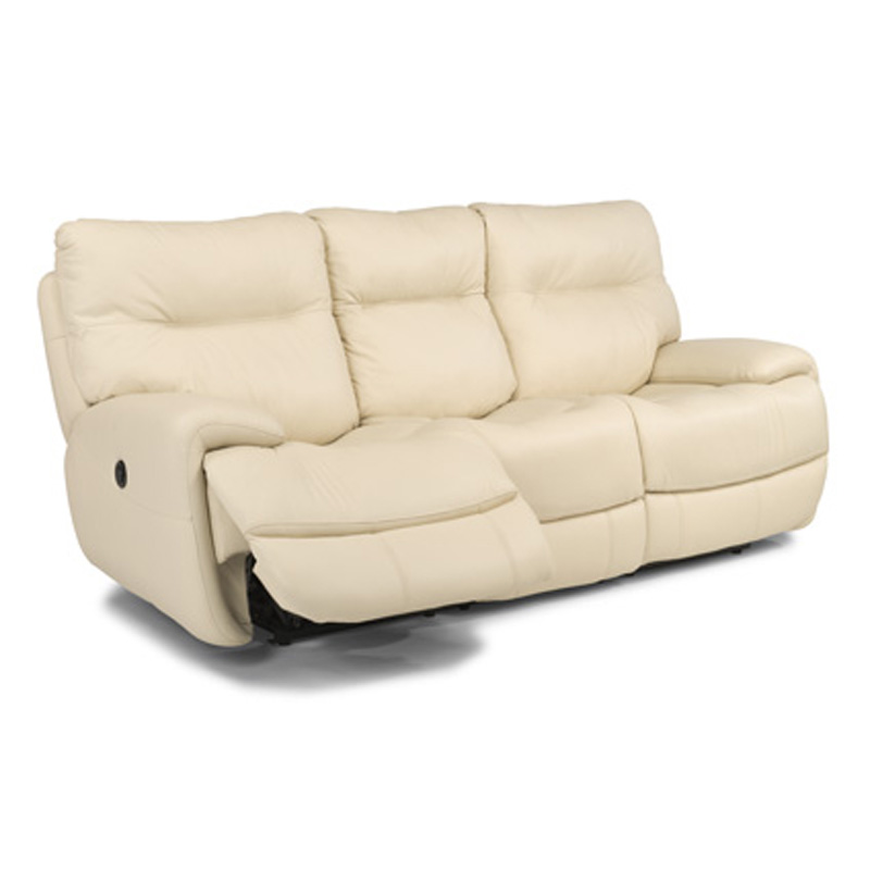 Leather Sofa Discount: Flexsteel 1447-62P Evian Leather Power Reclining Sofa