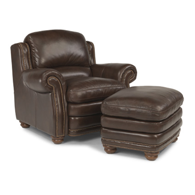Flexsteel 1473 10 08 Hamlin Leather Chair And Ottoman