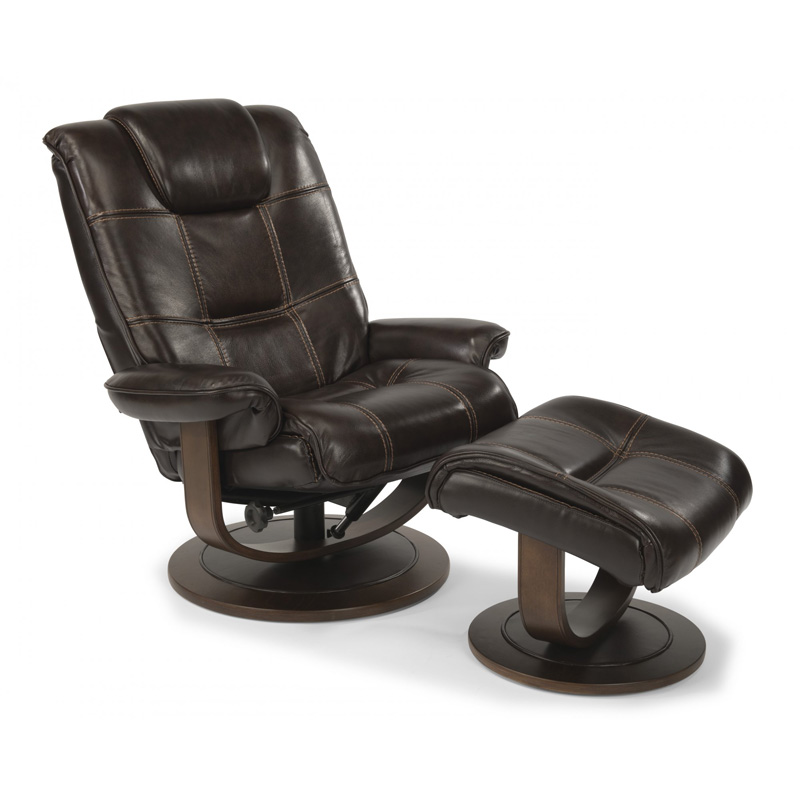 Flexsteel 1457 Co Spencer Leather Chair And Ottoman