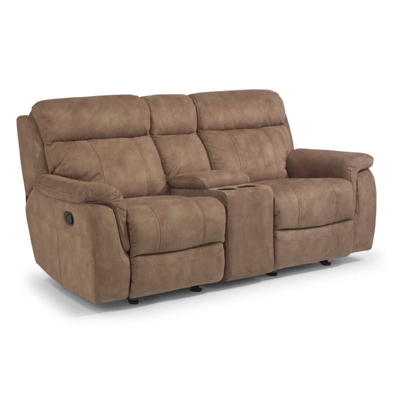 Flexsteel 1425 604 Casino Fabric Gliding Reclining Loveseat With Console Discount Furniture At