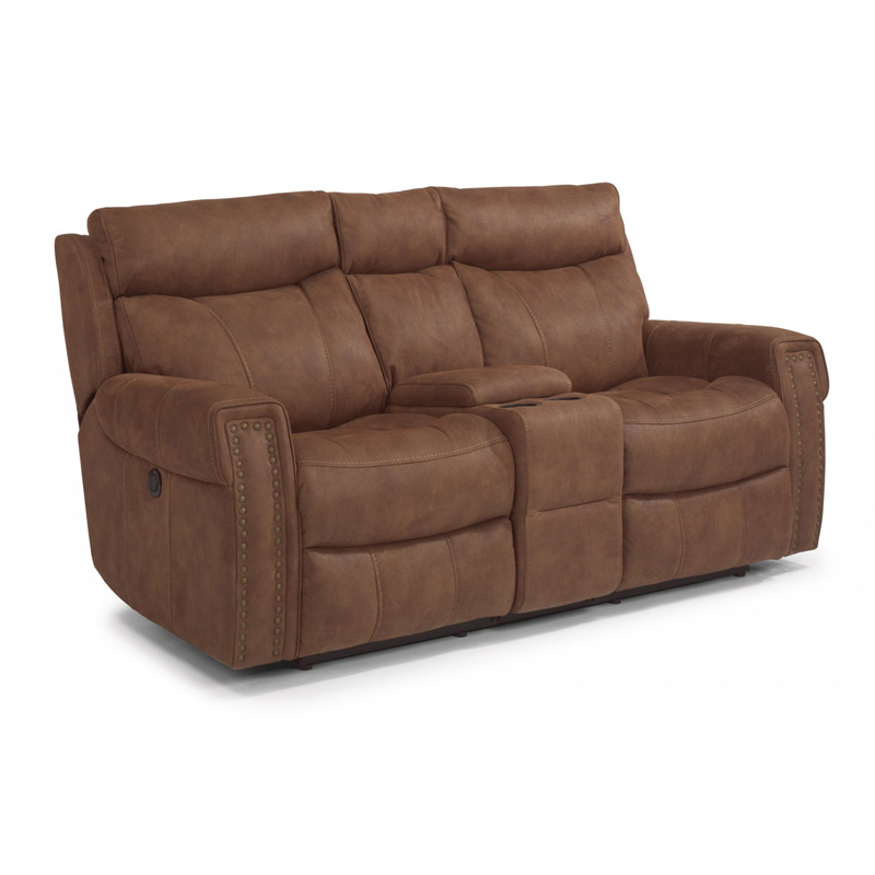 Flexsteel 1450 604p Wyatt Fabric Power Reclining Loveseat With Console Discount Furniture At