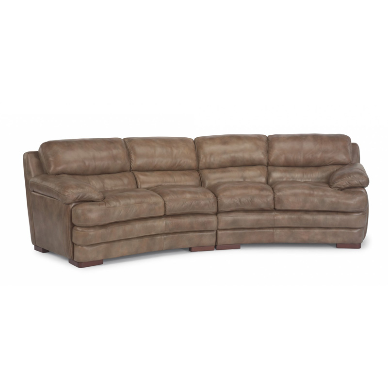 Flexsteel 1127 325 Dylan Leather Conversation Sofa Without Nailhead Trim Discount Furniture At