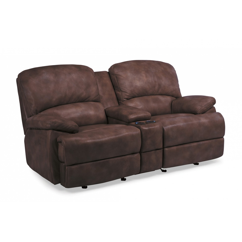 Flexsteel 1127 604p Dylan Leather Power Chaise Reclining Loveseat With Console Discount