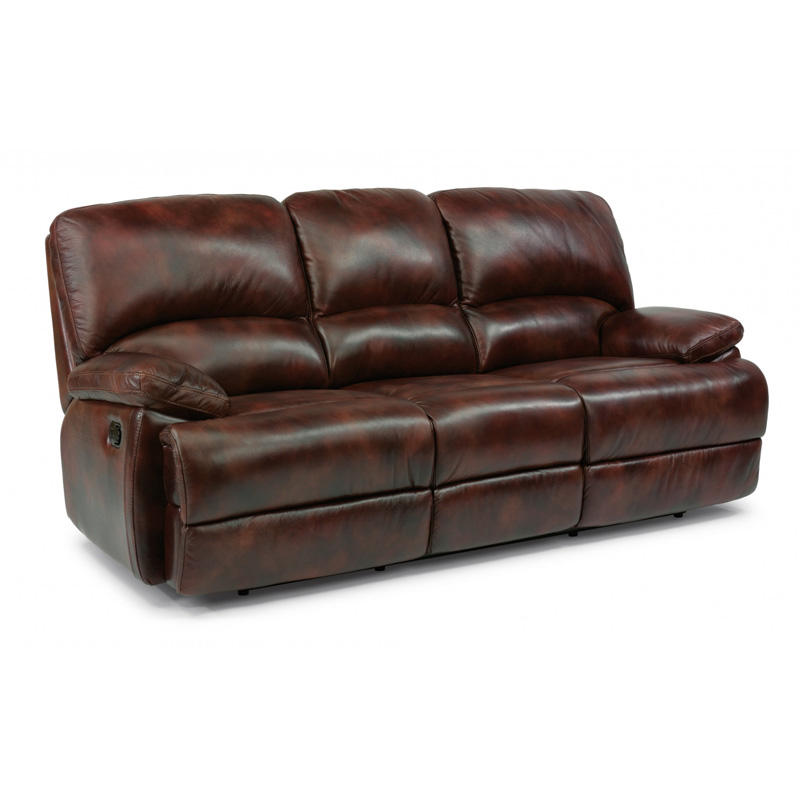 Flexsteel 1127 630 dylan leather three cushion chaise - Leather reclining sectional with chaise ...