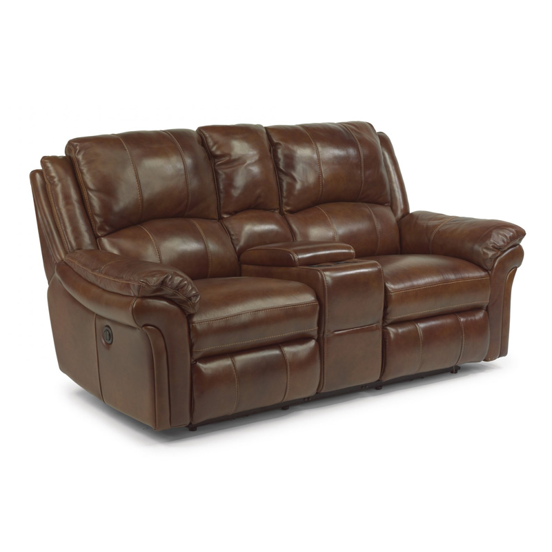 Flexsteel 1351 604p Dandridge Leather Power Reclining Loveseat With Console Discount Furniture