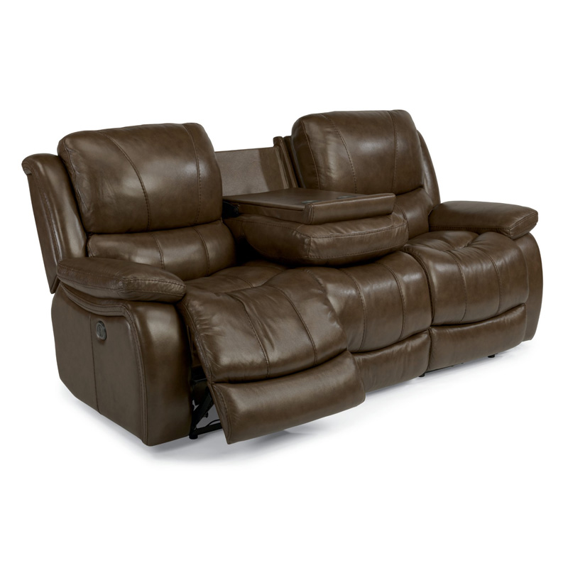 Leather Sofa Discount: Flexsteel 1343-62P Zandra Leather Power Reclining Sofa
