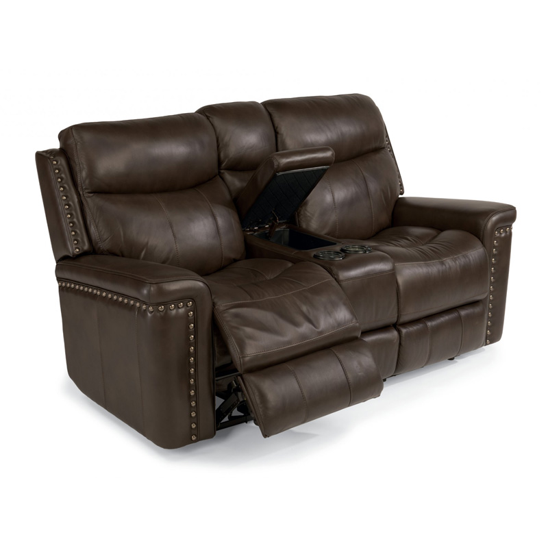 Flexsteel 1339 604p Grover Leather Power Reclining Loveseat With Console Discount Furniture At
