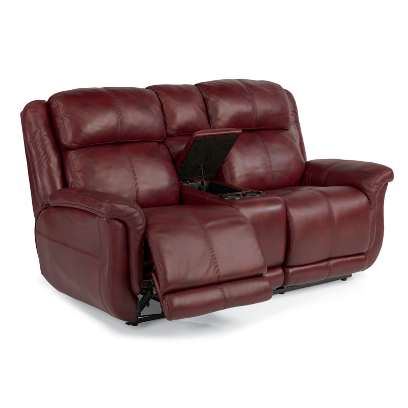 Flexsteel 1251 604p Brookings Leather Power Reclining Loveseat With Console Discount Furniture