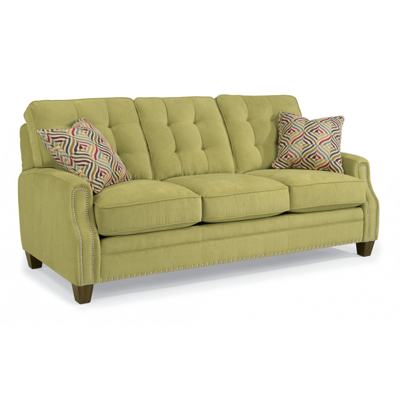 Flexsteel 5681 31 sloan fabric sofa with nailhead trim for Affordable furniture number