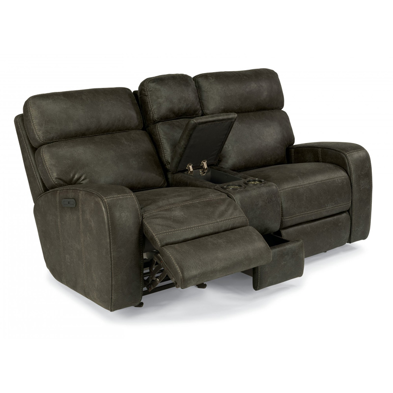 Flexsteel 1326 64ph Tomkins Fabric Power Gliding Reclining Loveseat With Console And Power