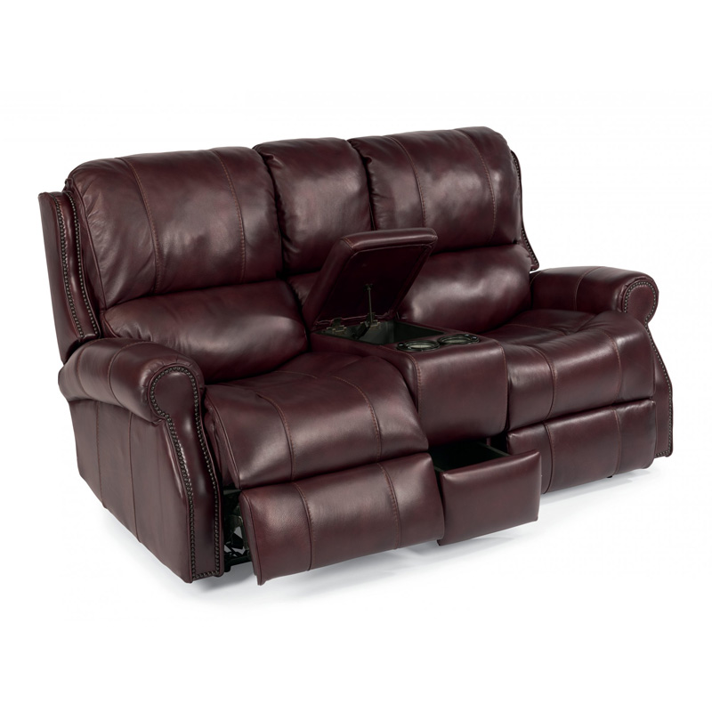 Flexsteel 1533 604p Miles Leather Power Reclining Loveseat With Console Discount Furniture At