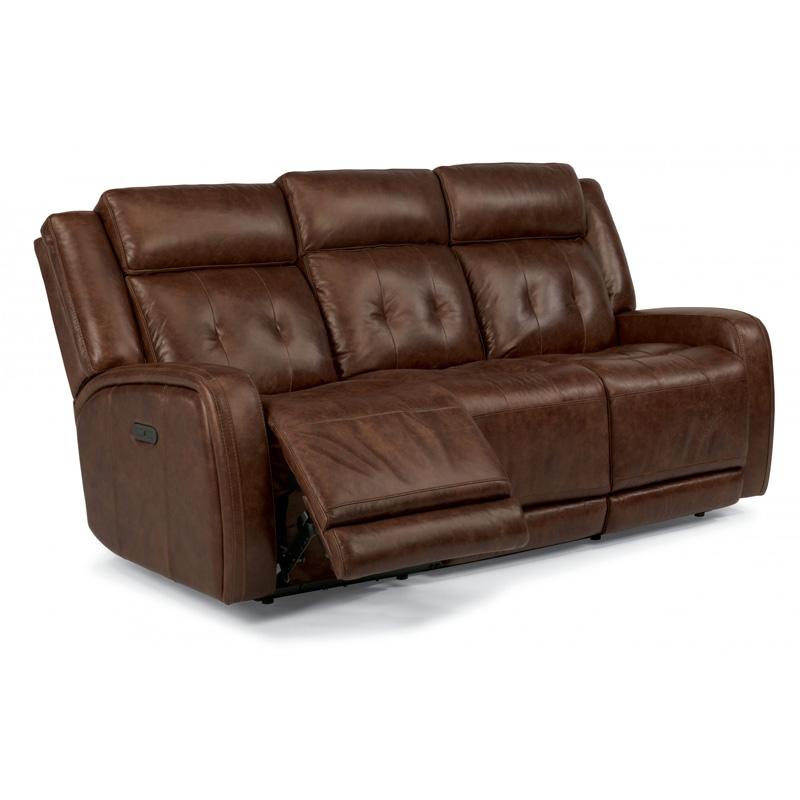 Flexsteel Sofa Vintage: Flexsteel 1559-62PH Jude Leather Power Reclining Sofa With