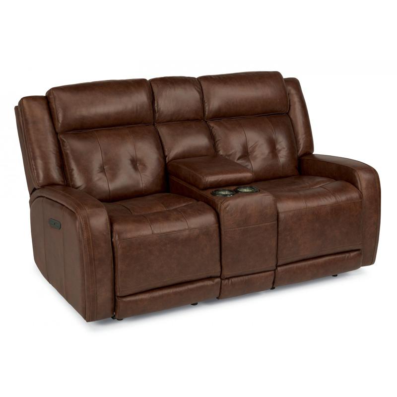 Flexsteel Electric Sofa: Flexsteel 1559-64PH Jude Leather Power Reclining Loveseat