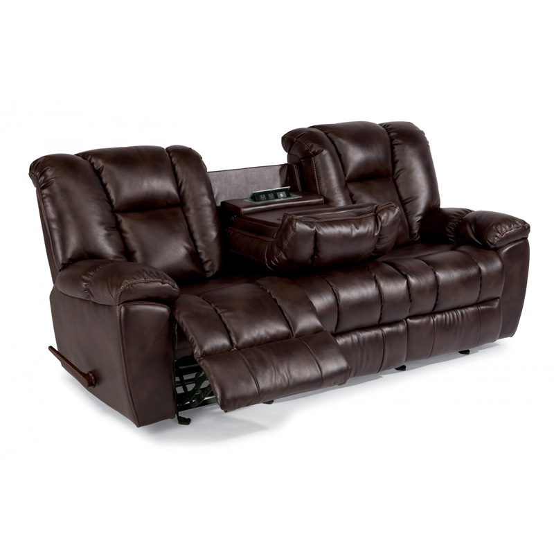 Flexsteel 1638 62 La Crosse Fabric Gliding Reclining Sofa Discount Furniture At Hickory Park