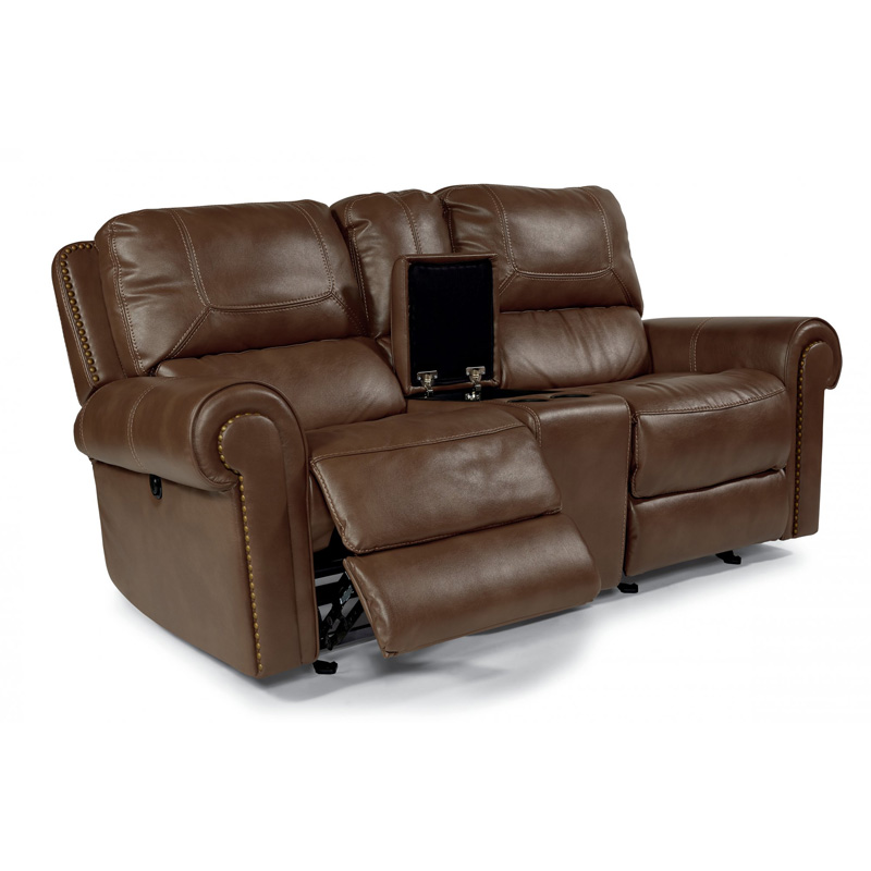 Flexsteel 1664 604p Weston Fabric Power Reclining Loveseat With Console Discount Furniture At