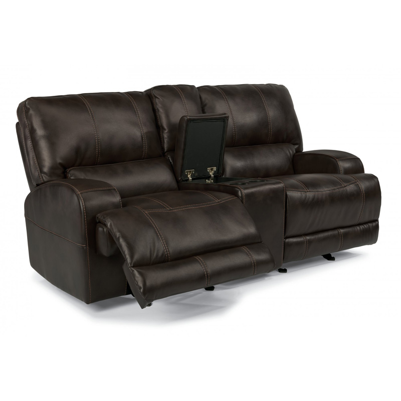 Flexsteel 1690 604p Cynthia Fabric Power Reclining Loveseat With Console Discount Furniture At
