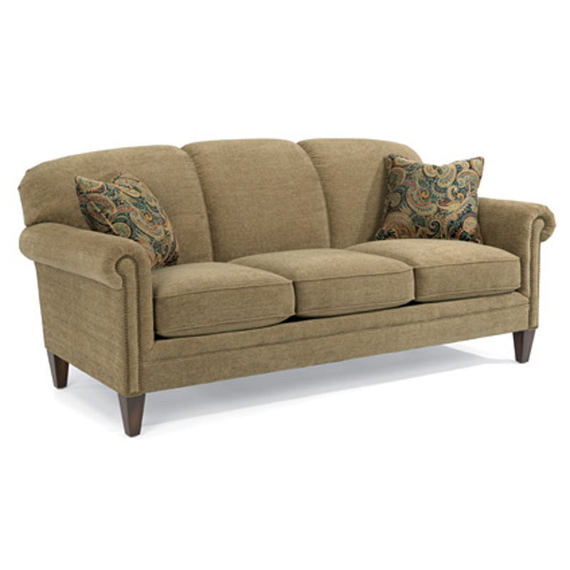 Flexsteel 5677-31 Amelia Fabric Sofa with Nails Discount Furniture at Hickory Park Furniture ...