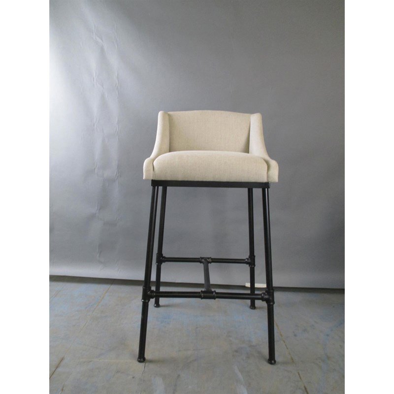 Beau Furniture Classics Linen And Iron Pipe Bar Stool