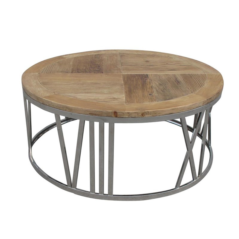 Round Marimon Metal Coffee Table: Furniture Classics 70280 FC Living Room Round Stainless