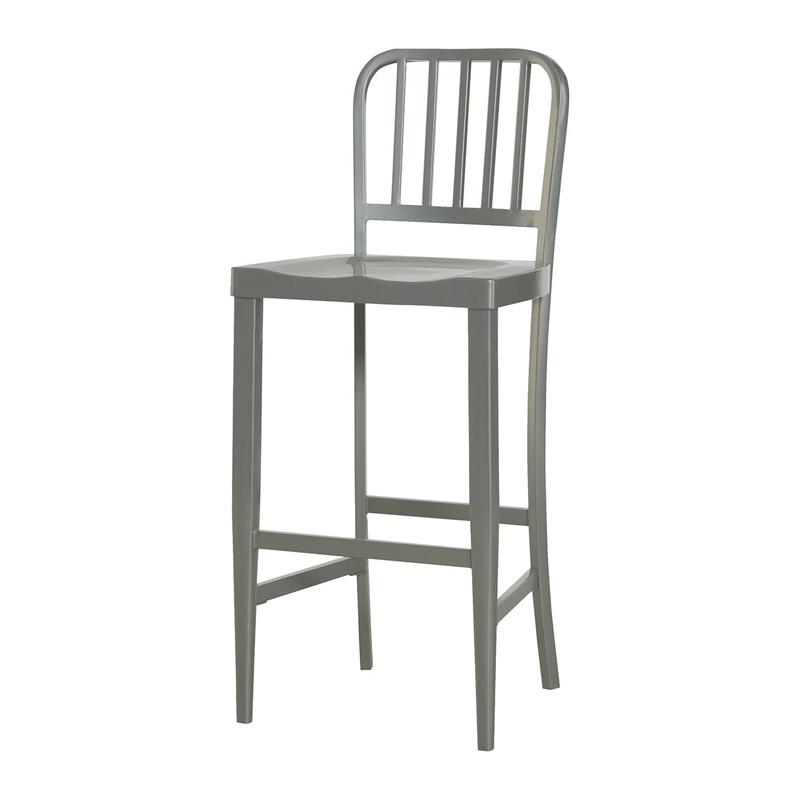 Hammary 090 581 hidden treasures gray metal bar stool for Affordable furniture and treasures