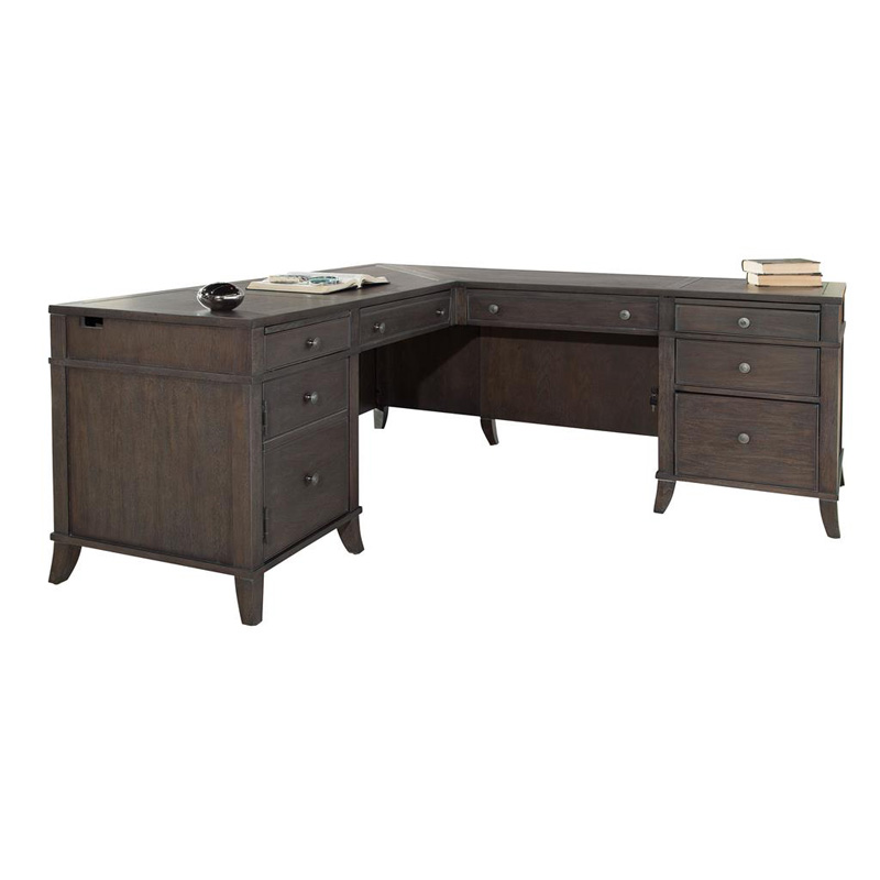hekman 7 9327 home office executive l desk discount furniture at