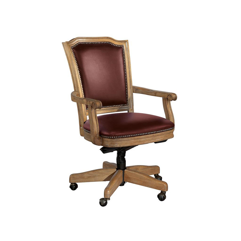 hekman 7 9257m home office wood frame merlot leather office chair discount furniture at hickory. Black Bedroom Furniture Sets. Home Design Ideas