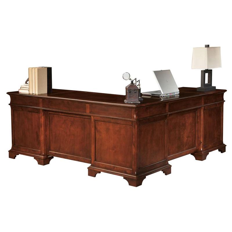 hekman 7 9277 weathered cherry executive l desk discount