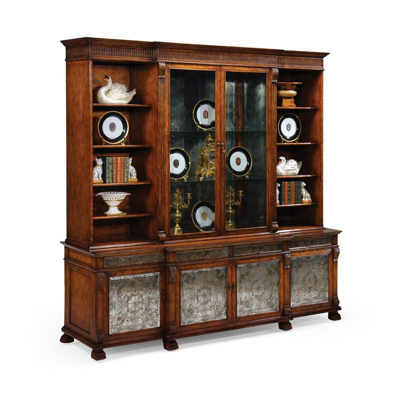 Jonathan Charles 492258 Windsor Large Eglomise Breakfront Bookcase Discount Furniture At Hickory