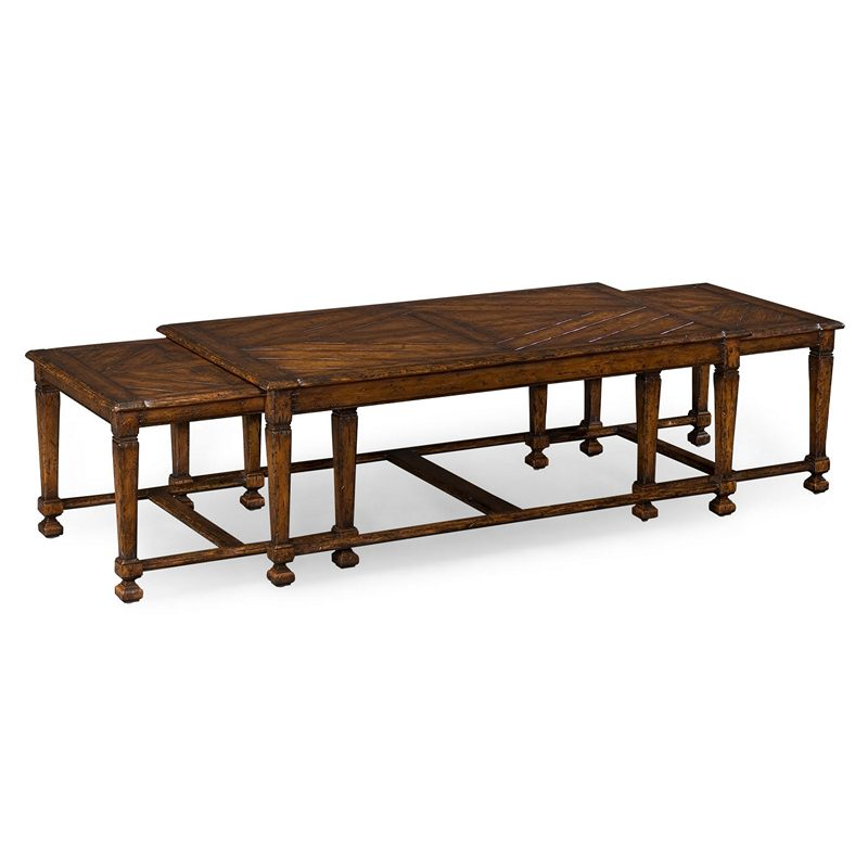 Jonathan Charles 493475 Country Farmhouse Rustic Walnut Nesting Coffee Table Discount Furniture
