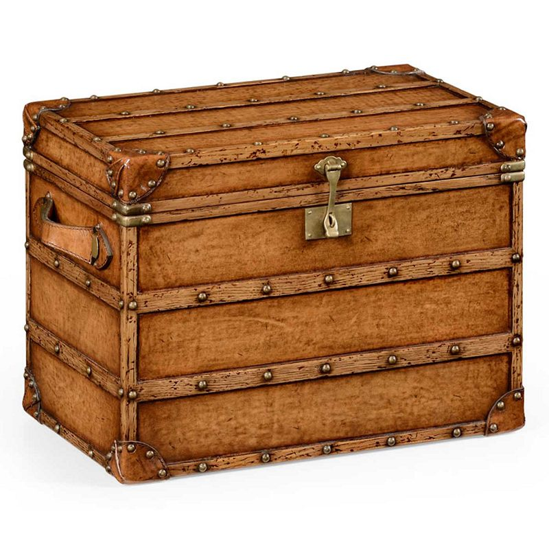 Jonathan Charles Voyager Leather Steamer Trunk
