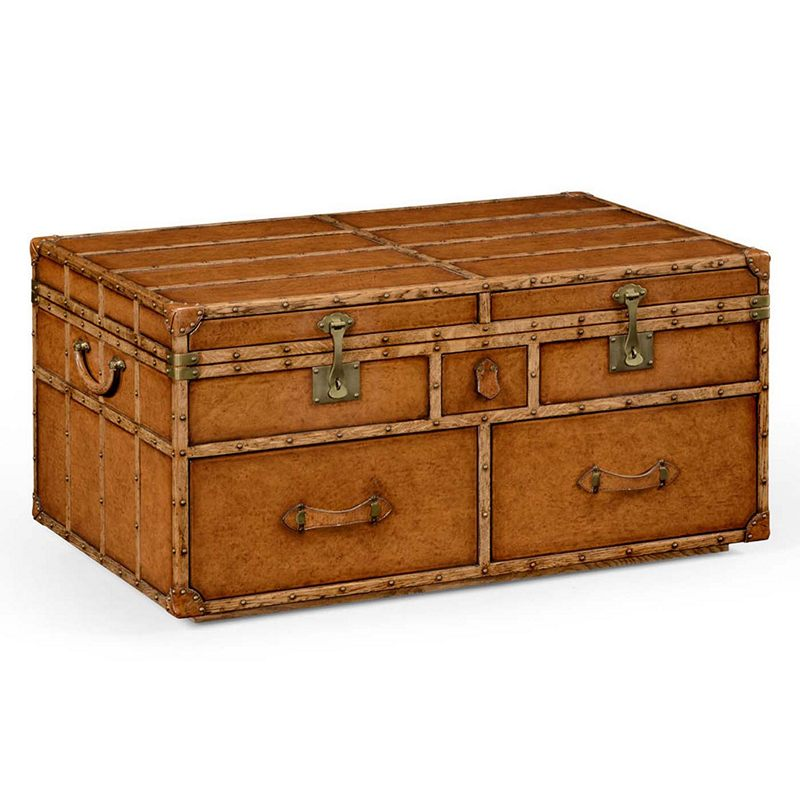 Jonathan Charles 494473 Voyager Travel Trunk Style Coffee
