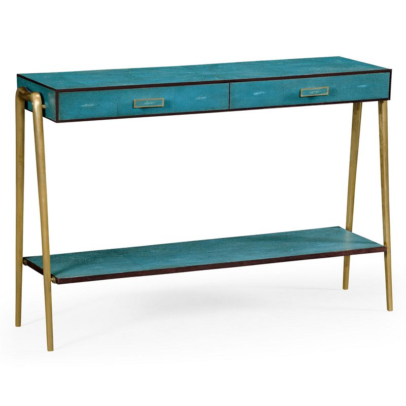jonathan charles 495204 luxe teal faux shagreen and brass. Black Bedroom Furniture Sets. Home Design Ideas