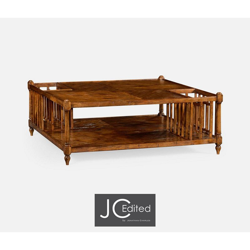 Jonathan Charles 491026 Cfw Jc Edited Casually Country Rustic Walnut Square Coffee Table With