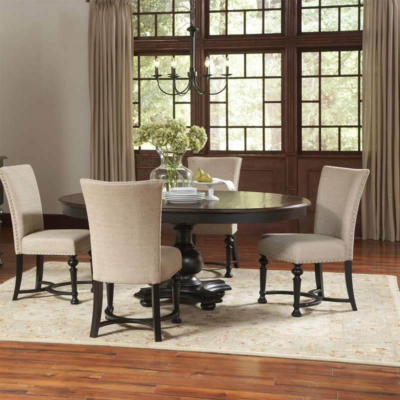 riverside 92651 williamsport round dining table discount furniture at hickory park furniture. Black Bedroom Furniture Sets. Home Design Ideas
