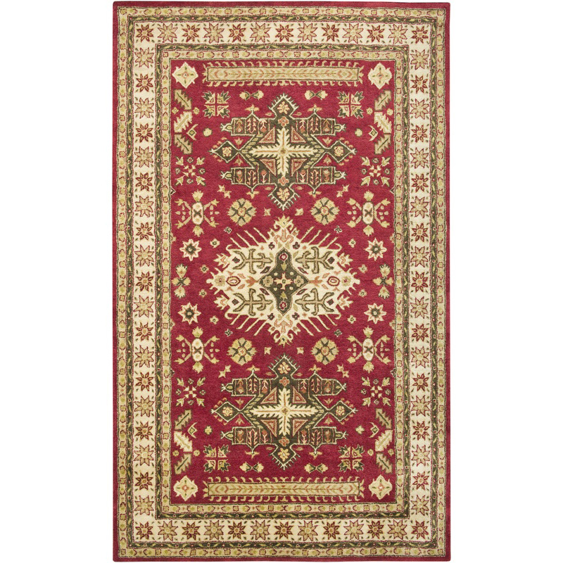 Rizzy Home Sn1696 Shine Cranberry Cream Traditional Rug