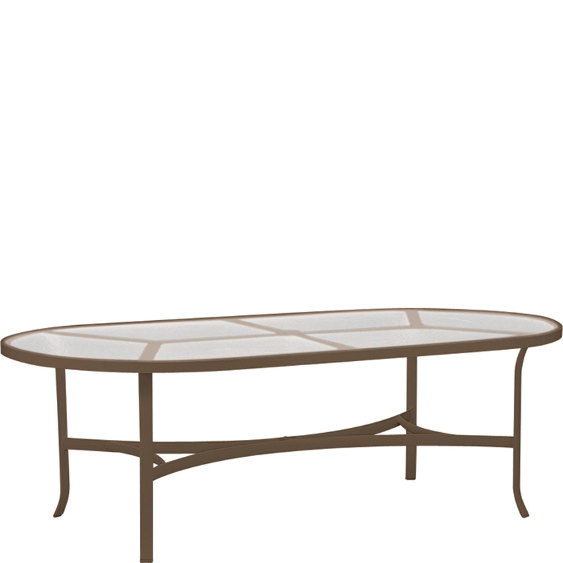 Tropitone 4284 acrylic and glass tables 84 inch x 42 inch for Oval glass dining table