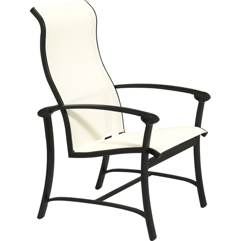 Tropitone 880601 ovation sling dining chair with high back for Cheap high back dining chairs