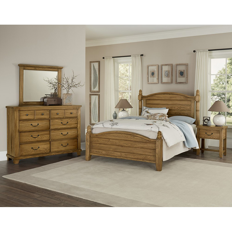 Vaughan Bassett 425-1-1 American Oak Honey Poster Bed With