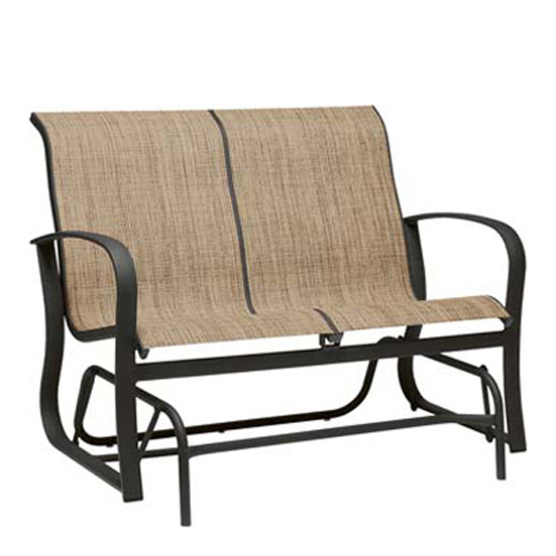 Woodard 2p0473 Fremont Sling Gliding Loveseat Discount Furniture At Hickory Park Furniture Galleries