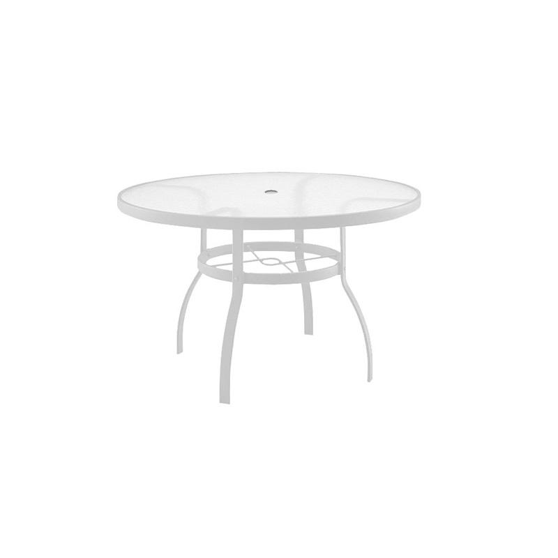 White 42 Inch Round Umbrella Table Acrylic Top 822142W.44. Aluminum  Poolside Deluxe Woodard