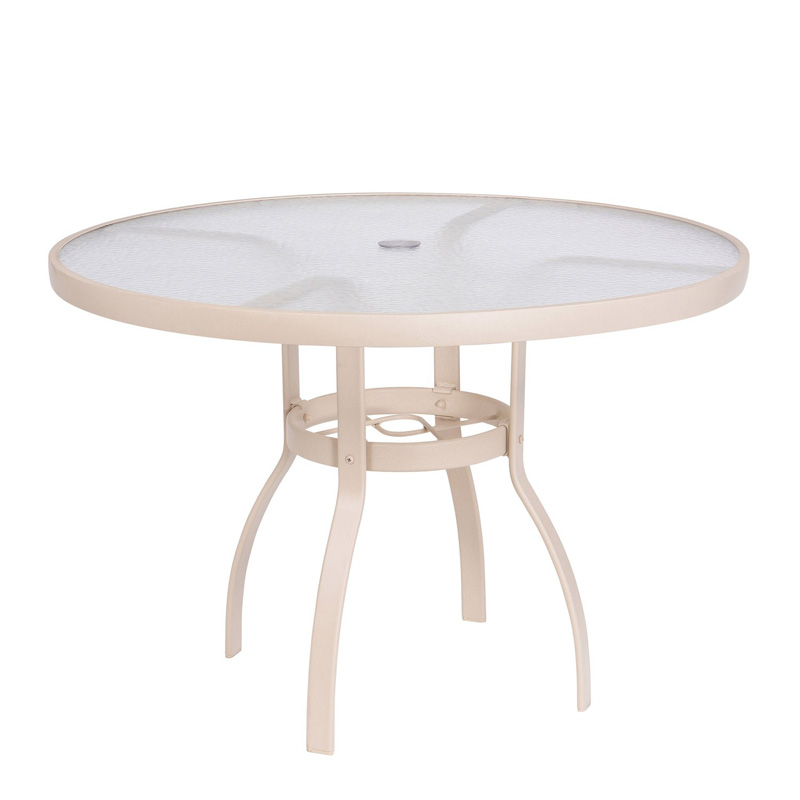 Sandstone 42 Inch Round Umbrella Table Acrylic Top 822142W.19. Aluminum  Poolside Deluxe Woodard