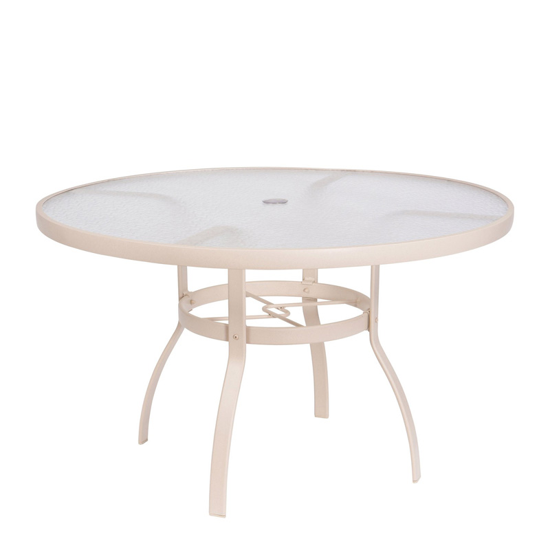 Sandstone 48 Inch Round Umbrella Table Acrylic Top 822148W.19. Aluminum  Poolside Deluxe Woodard