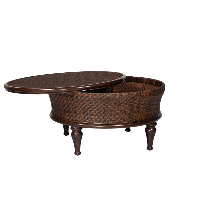 Woodard S540211 North Shore Round Storage Coffee Table Discount Furniture At Hickory Park